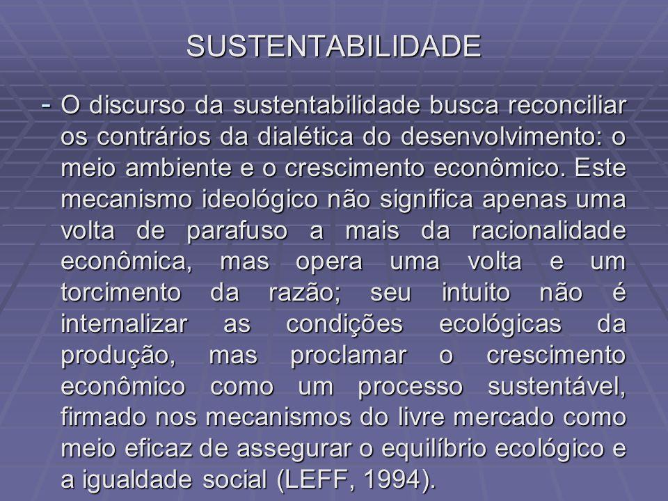 SUSTENTABILIDADE - O discurso da sustentabilidade busca reconciliar os contrários da dialética do desenvolvimento: o meio ambiente e o crescimento econômico.