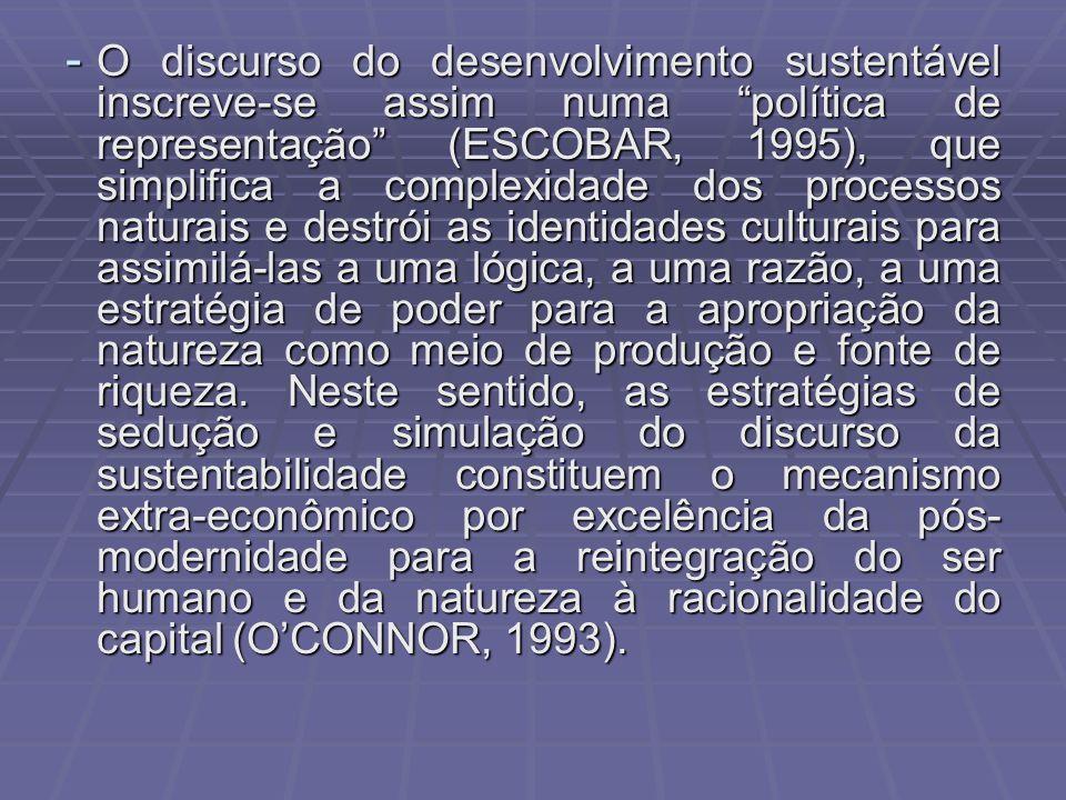 - O discurso do desenvolvimento sustentável inscreve-se assim numa política de representação (ESCOBAR, 1995), que simplifica a complexidade dos proces