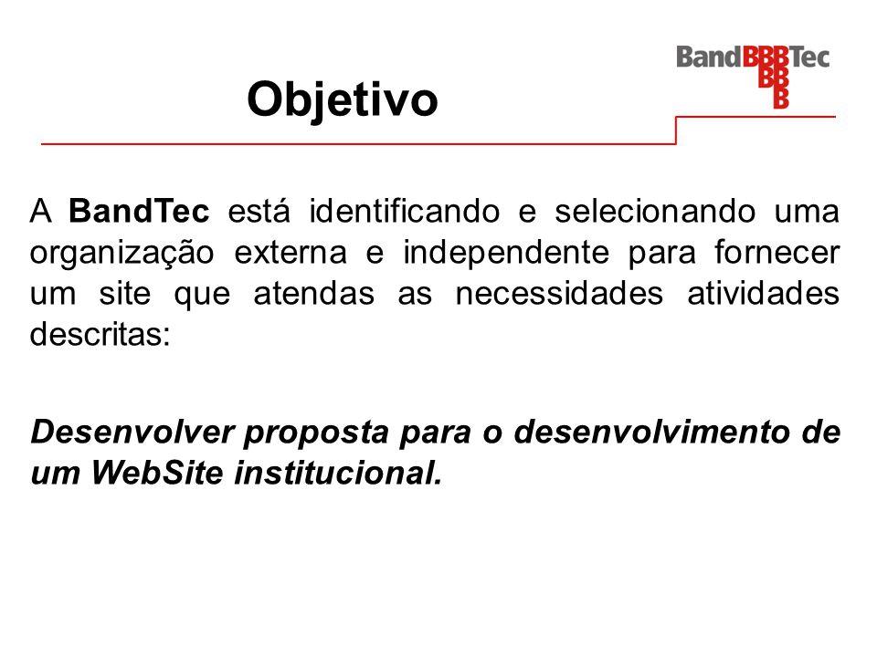 Objetivo A BandTec está identificando e selecionando uma organização externa e independente para fornecer um site que atendas as necessidades atividad