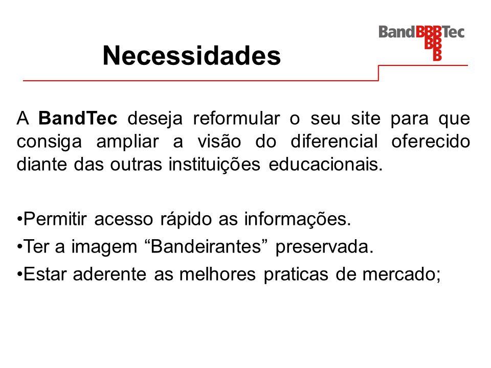 Necessidades A BandTec deseja reformular o seu site para que consiga ampliar a visão do diferencial oferecido diante das outras instituições educacion