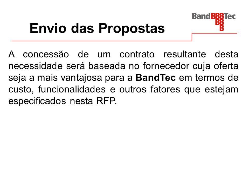 Envio das Propostas A concessão de um contrato resultante desta necessidade será baseada no fornecedor cuja oferta seja a mais vantajosa para a BandTe