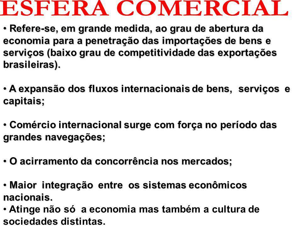 Refere-se, em grande medida, ao grau de abertura da economia para a penetração das importações de bens e serviços (baixo grau de competitividade das exportações brasileiras).