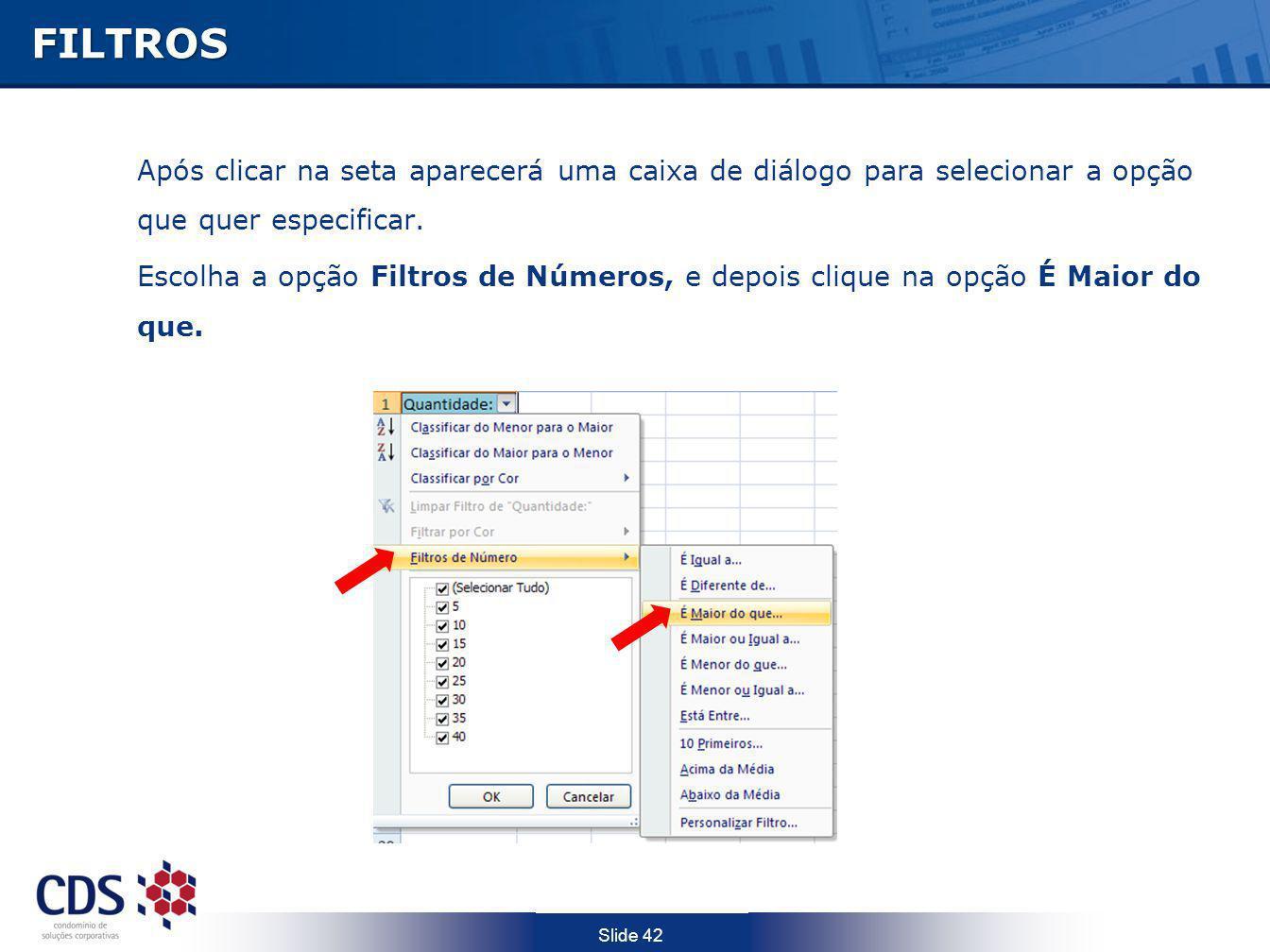 Slide 42FILTROS Após clicar na seta aparecerá uma caixa de diálogo para selecionar a opção que quer especificar. Escolha a opção Filtros de Números, e