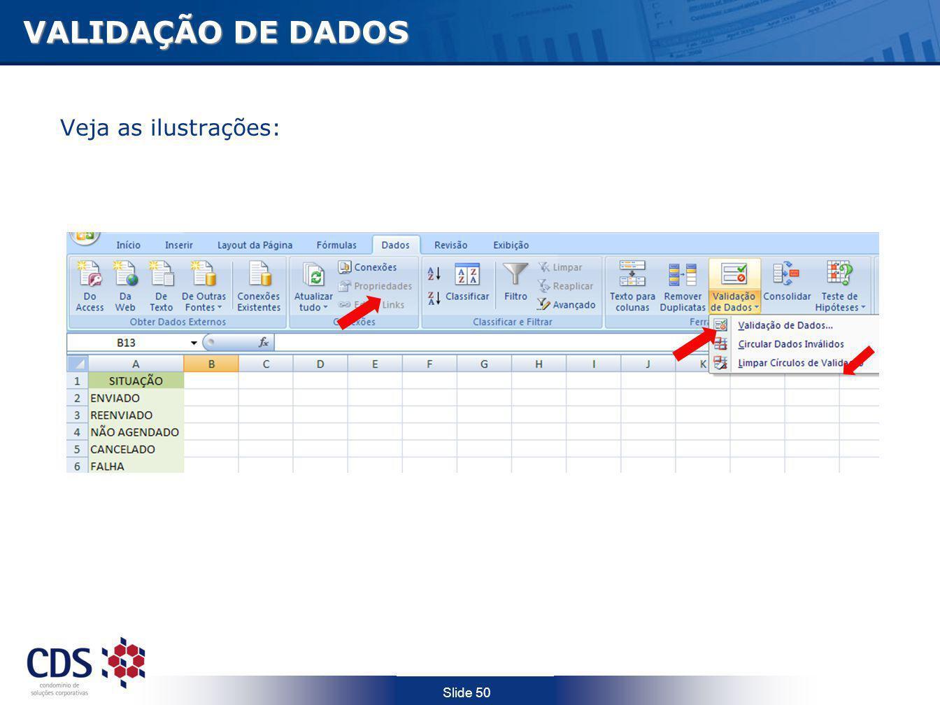 Slide 50 VALIDAÇÃO DE DADOS Veja as ilustrações: