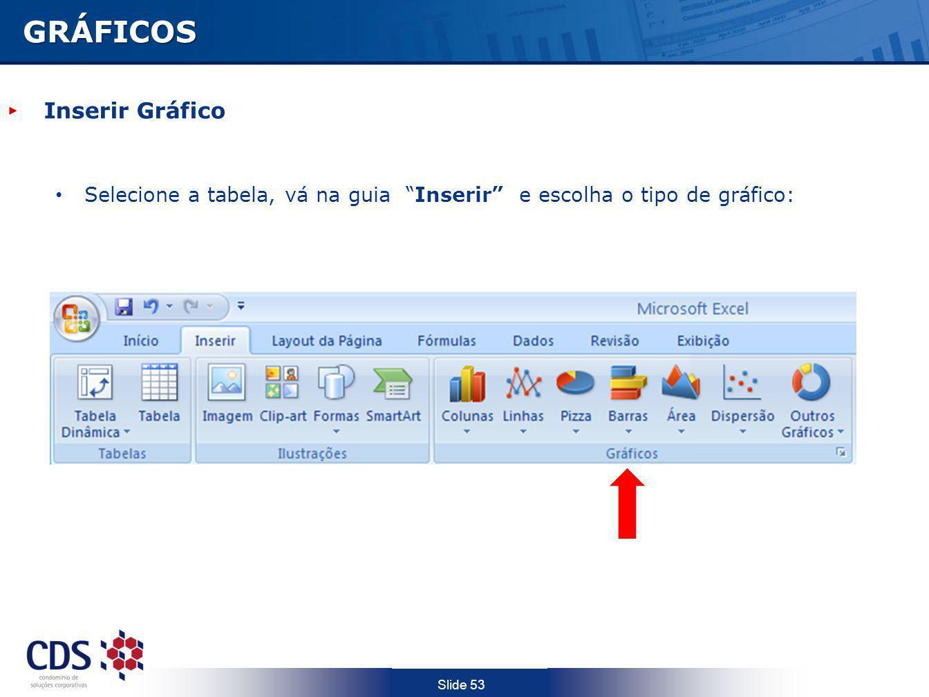 Slide 53 Inserir Gráfico Selecione a tabela, vá na guia Inserir e escolha o tipo de gráfico: GRÁFICOS