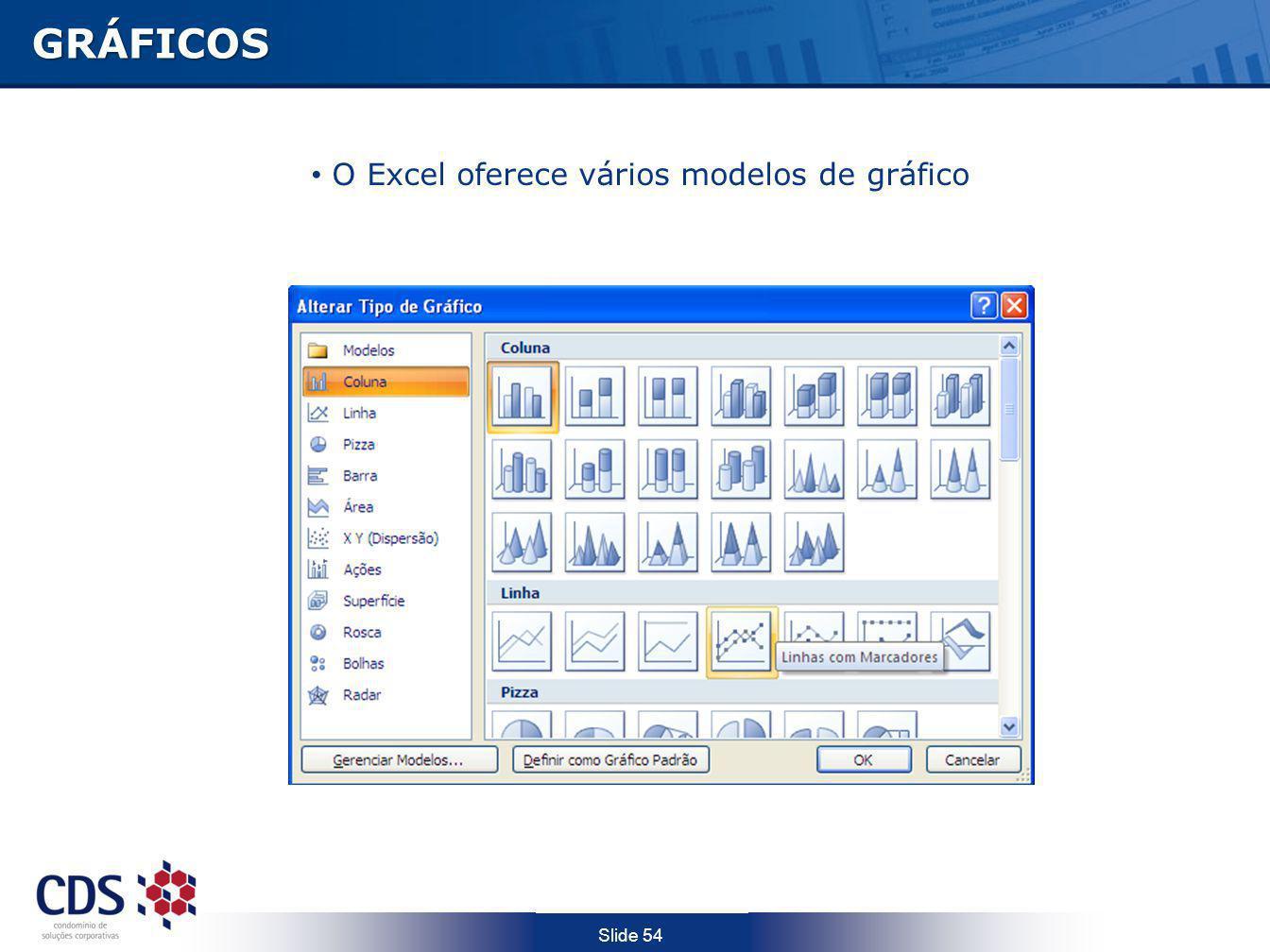 Slide 54 GRÁFICOS O Excel oferece vários modelos de gráfico