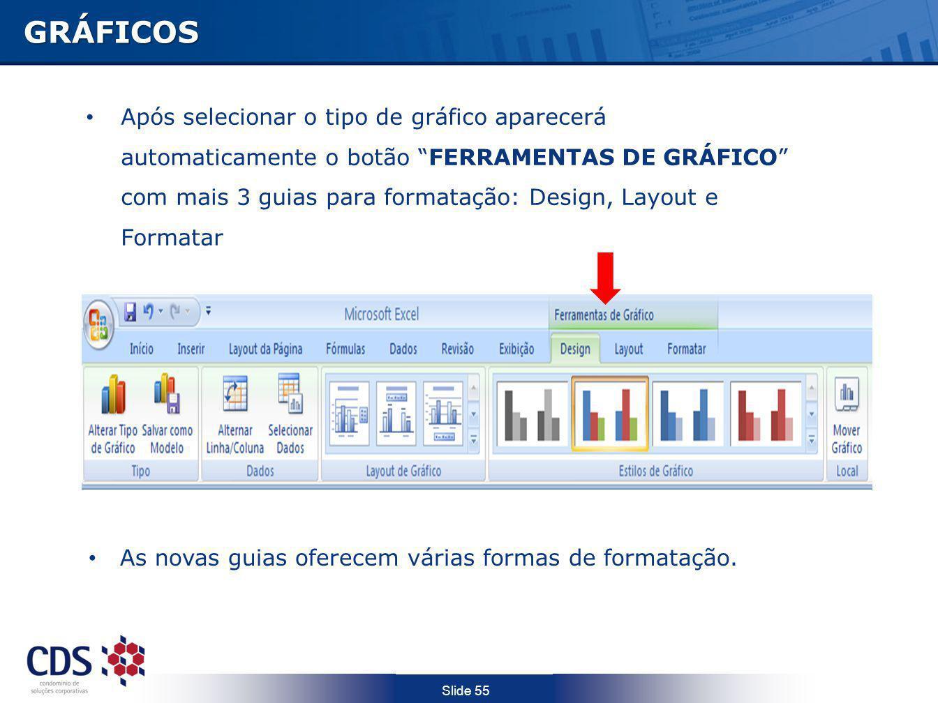 Slide 55 GRÁFICOS Após selecionar o tipo de gráfico aparecerá automaticamente o botão FERRAMENTAS DE GRÁFICO com mais 3 guias para formatação: Design,