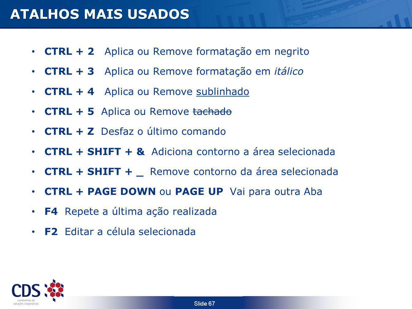 Slide 67 ATALHOS MAIS USADOS CTRL + 2 Aplica ou Remove formatação em negrito CTRL + 3 Aplica ou Remove formatação em itálico CTRL + 4 Aplica ou Remove