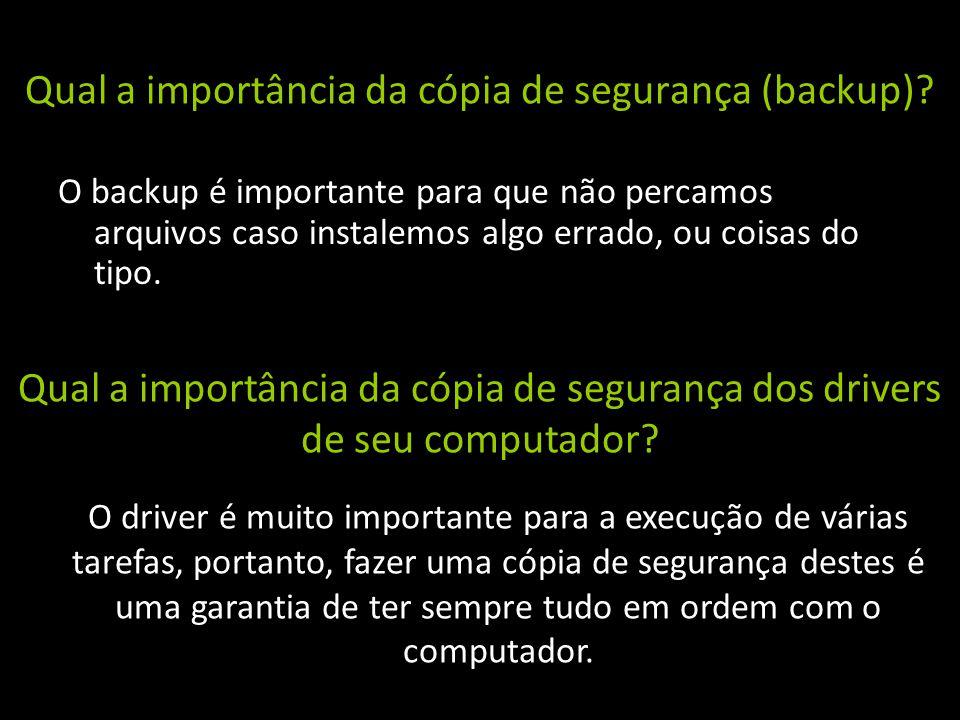 Qual a importância da cópia de segurança (backup)? O backup é importante para que não percamos arquivos caso instalemos algo errado, ou coisas do tipo