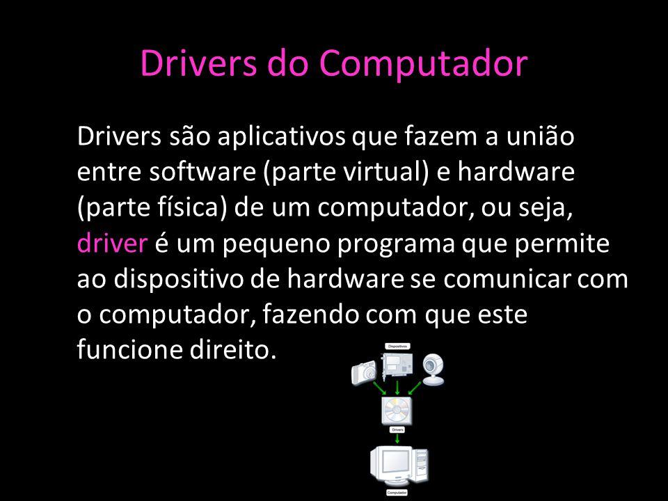 Drivers do Computador Drivers são aplicativos que fazem a união entre software (parte virtual) e hardware (parte física) de um computador, ou seja, driver é um pequeno programa que permite ao dispositivo de hardware se comunicar com o computador, fazendo com que este funcione direito.