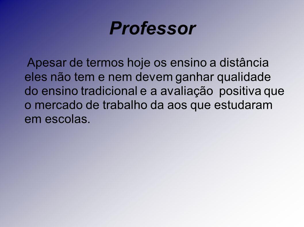 Professor Apesar de termos hoje os ensino a distância eles não tem e nem devem ganhar qualidade do ensino tradicional e a avaliação positiva que o mer