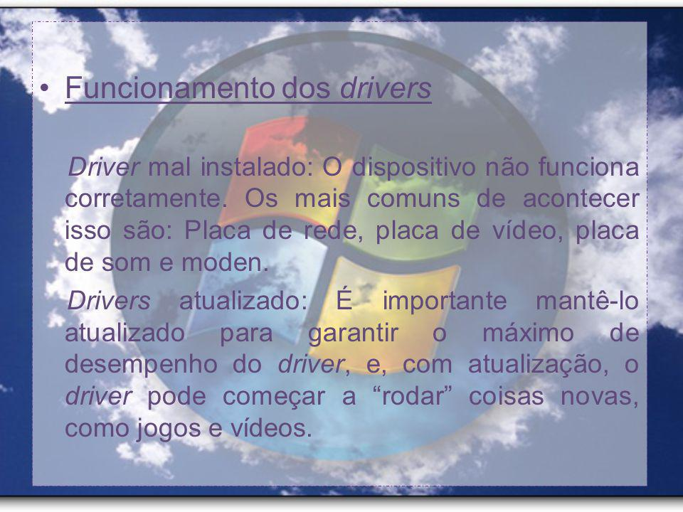 Funcionamento dos drivers Driver mal instalado: O dispositivo não funciona corretamente.