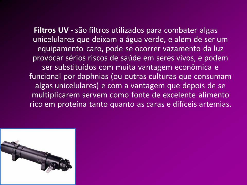 Filtros UV - são filtros utilizados para combater algas unicelulares que deixam a água verde, e alem de ser um equipamento caro, pode se ocorrer vazam