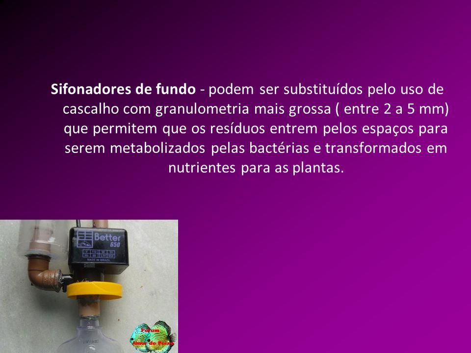 Sifonadores de fundo - podem ser substituídos pelo uso de cascalho com granulometria mais grossa ( entre 2 a 5 mm) que permitem que os resíduos entrem