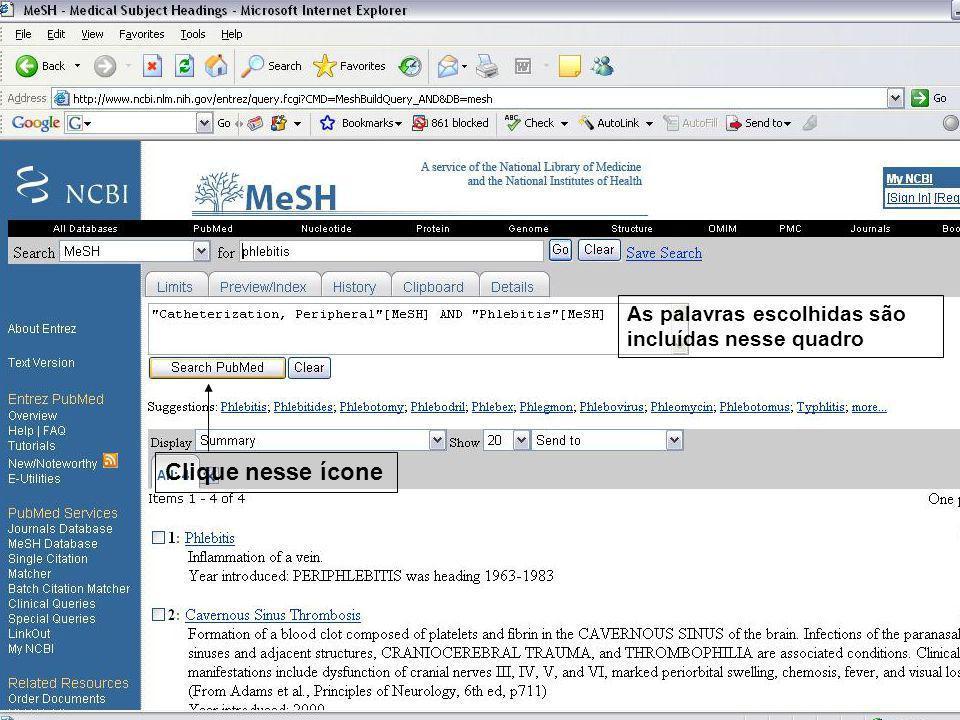 Clique na seta para selecionar o Termo para pesquisa