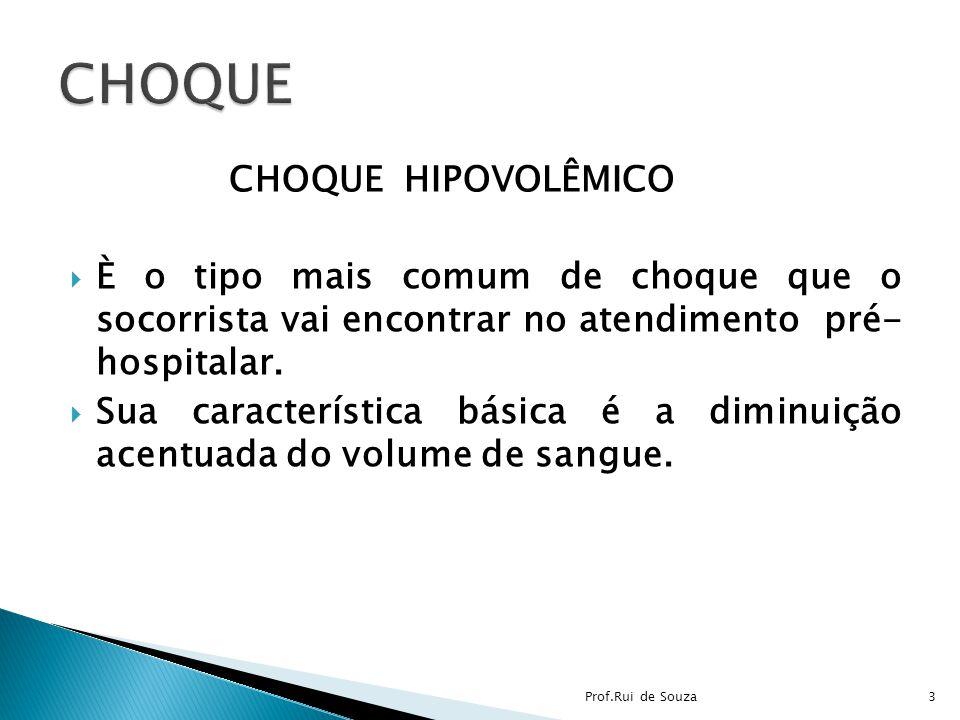 CHOQUE HIPOVOLÊMICO È o tipo mais comum de choque que o socorrista vai encontrar no atendimento pré- hospitalar. Sua característica básica é a diminui