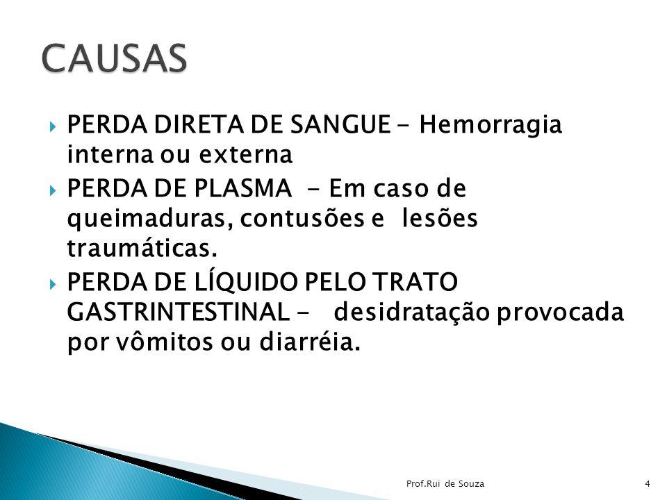 PERDA DIRETA DE SANGUE - Hemorragia interna ou externa PERDA DE PLASMA - Em caso de queimaduras, contusões e lesões traumáticas. PERDA DE LÍQUIDO PELO