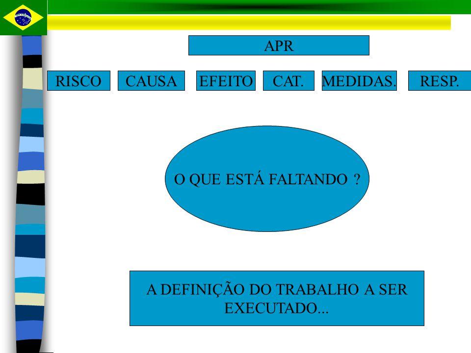 ENTÃO TEMOS: RISCOCAUSA EFEITO CAT. DO RISCO RESPONSÁVEL MEDIDAS DE PREVENÇÃO
