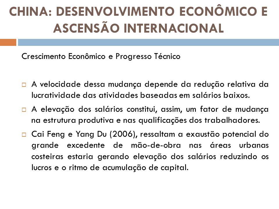 Crescimento Econômico e Progresso Técnico A velocidade dessa mudança depende da redução relativa da lucratividade das atividades baseadas em salários