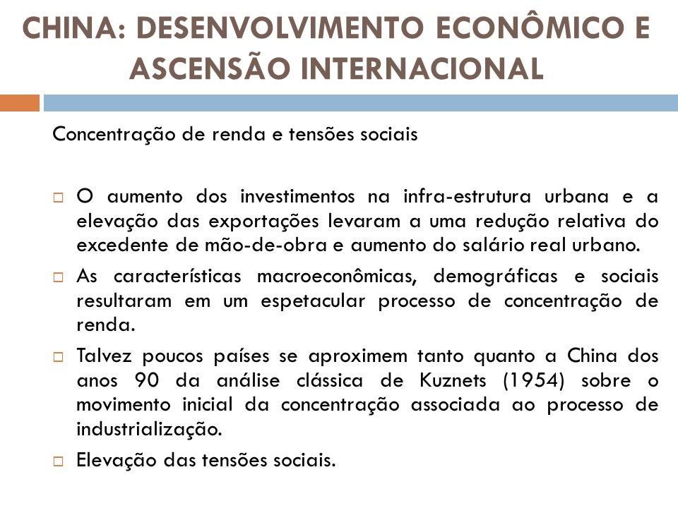 Concentração de renda e tensões sociais O aumento dos investimentos na infra-estrutura urbana e a elevação das exportações levaram a uma redução relat