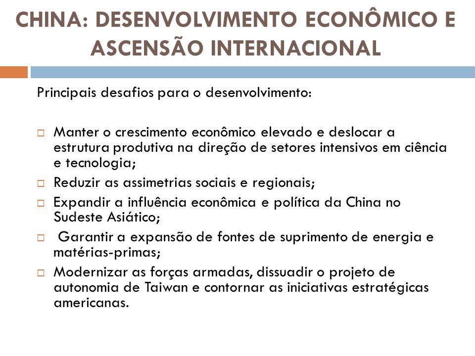 Crescimento Econômico e Progresso Técnico A dinâmica do crescimento econômico chinês depende: Acesso às matérias-primas; Evolução dos custos salariais; Produtividade; Fontes de demanda do seu crescimento econômico.