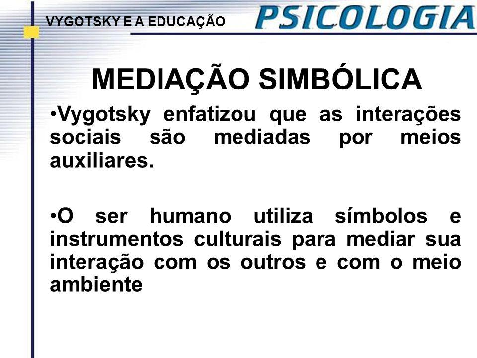 MEDIAÇÃO SIMBÓLICA Vygotsky enfatizou que as interações sociais são mediadas por meios auxiliares. O ser humano utiliza símbolos e instrumentos cultur