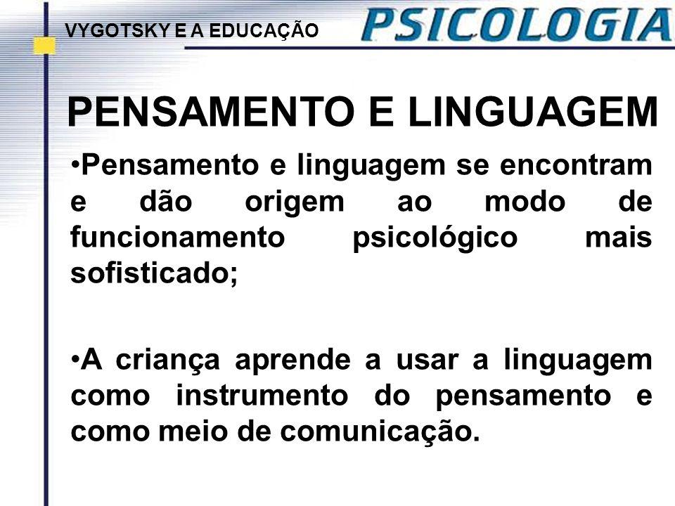 PENSAMENTO E LINGUAGEM Pensamento e linguagem se encontram e dão origem ao modo de funcionamento psicológico mais sofisticado; A criança aprende a usa
