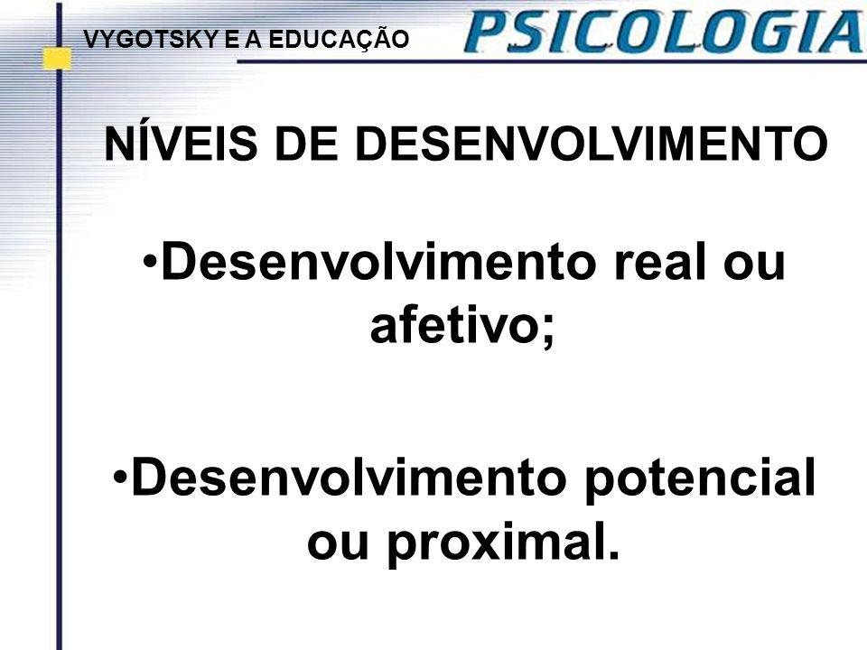 NÍVEIS DE DESENVOLVIMENTO Desenvolvimento real ou afetivo; Desenvolvimento potencial ou proximal. VYGOTSKY E A EDUCAÇÃO