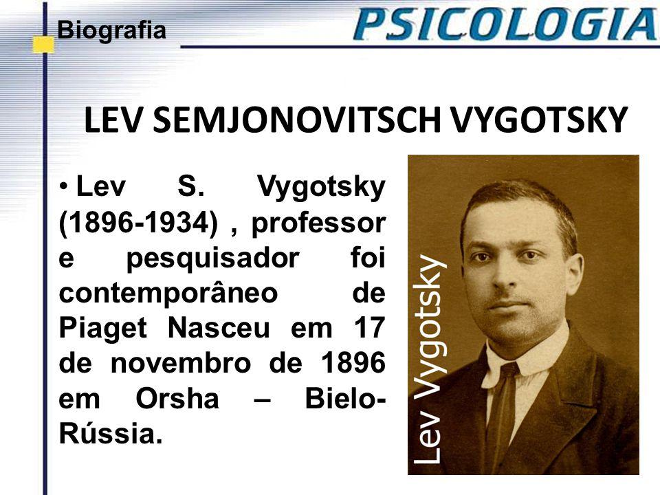 LEV SEMJONOVITSCH VYGOTSKY Lev S. Vygotsky (1896-1934), professor e pesquisador foi contemporâneo de Piaget Nasceu em 17 de novembro de 1896 em Orsha