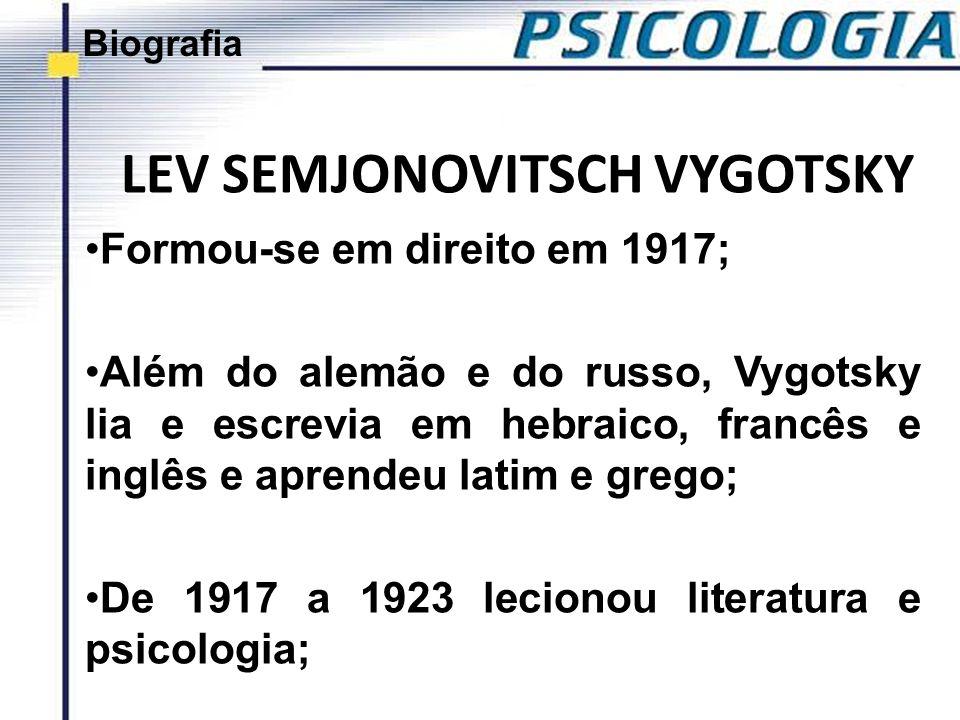 LEV SEMJONOVITSCH VYGOTSKY Formou-se em direito em 1917; Além do alemão e do russo, Vygotsky lia e escrevia em hebraico, francês e inglês e aprendeu l