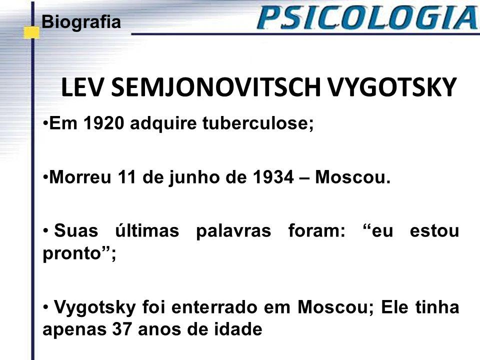 LEV SEMJONOVITSCH VYGOTSKY Durante o governo de Stalin (1924 – 1953), Vygotsky começou a receber severas criticas; Após sua morte, teve publicação de sua obra proibida na União Soviética, em 1936; Foi redescoberta em 1956 e no Brasil somente em 1984.