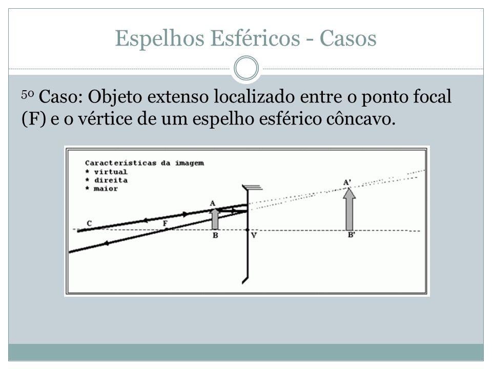Espelhos Esféricos - Casos 5o Caso: Objeto extenso localizado entre o ponto focal (F) e o vértice de um espelho esférico côncavo.