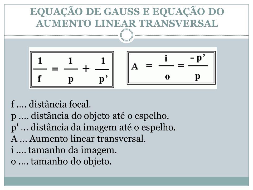 EQUAÇÃO DE GAUSS E EQUAÇÃO DO AUMENTO LINEAR TRANSVERSAL f....