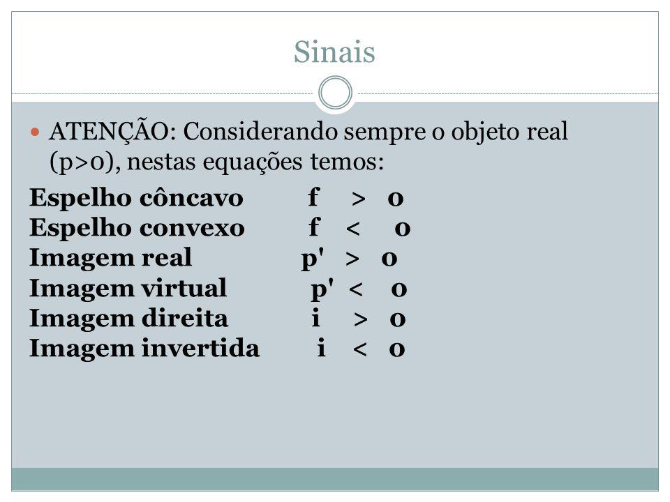 Sinais ATENÇÃO: Considerando sempre o objeto real (p>0), nestas equações temos: Espelho côncavo f > 0 Espelho convexo f 0 Imagem virtual p 0 Imagem invertida i < 0