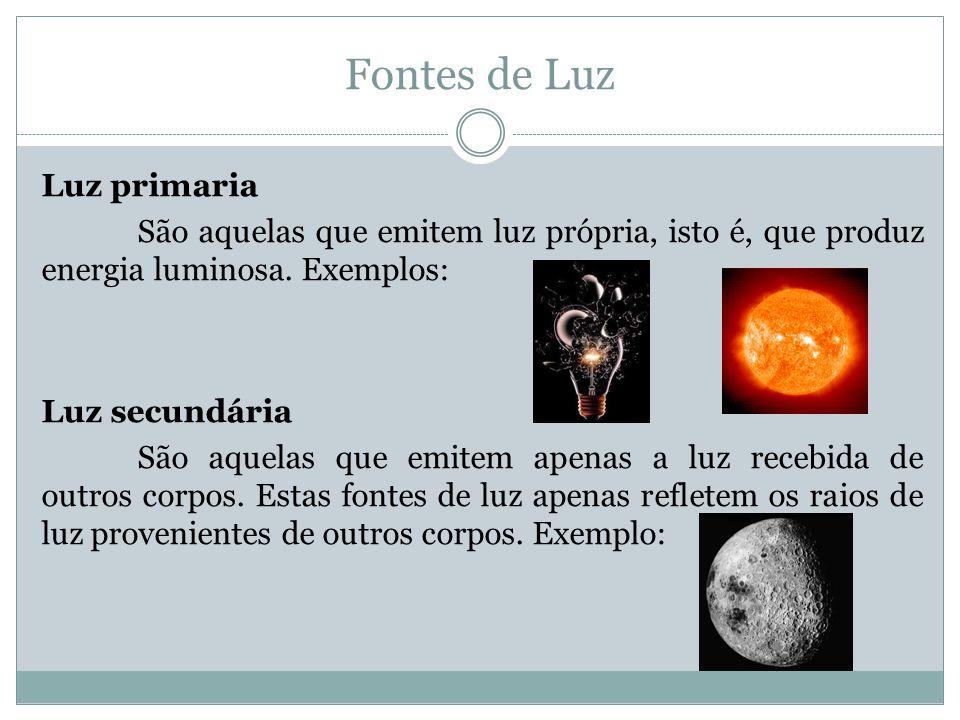 Fontes de Luz Luz primaria São aquelas que emitem luz própria, isto é, que produz energia luminosa.