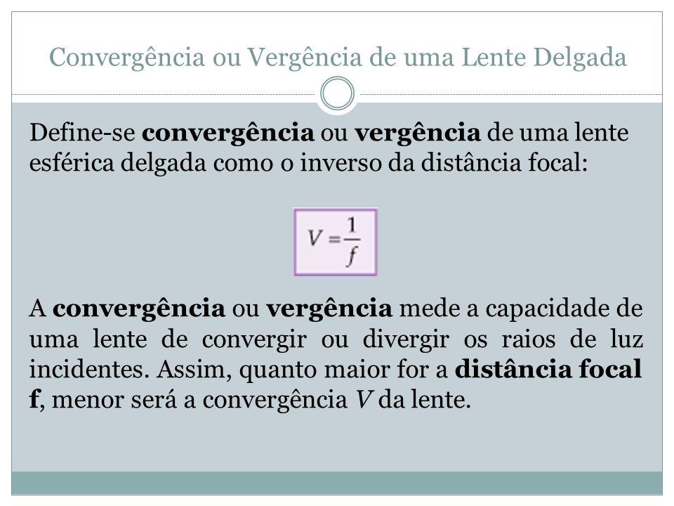 Convergência ou Vergência de uma Lente Delgada Define-se convergência ou vergência de uma lente esférica delgada como o inverso da distância focal: A convergência ou vergência mede a capacidade de uma lente de convergir ou divergir os raios de luz incidentes.