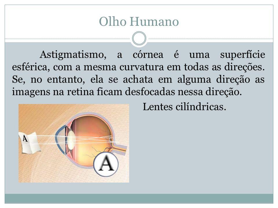 Olho Humano Astigmatismo, a córnea é uma superfície esférica, com a mesma curvatura em todas as direções.