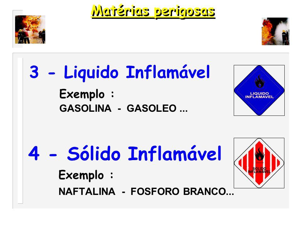 2 – Gás Exemplo : AR COMPRIMIDO - BUTANO...1 – Explosivos Exemplo : DINAMITE - POLVORA...