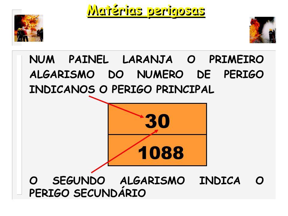 1- EXPLOSIVO 2- GÁS 3- LIQUIDO INFLAMAVEL 4- SÓLIDO INFLAMAVEL 5- COMBURENTE 6- TÓXICO 7- RADIOACTIVO 8- CORROSIVO 9- REACÇÃO VIOLENTA E EXPONTÂNEA Matérias perigosas