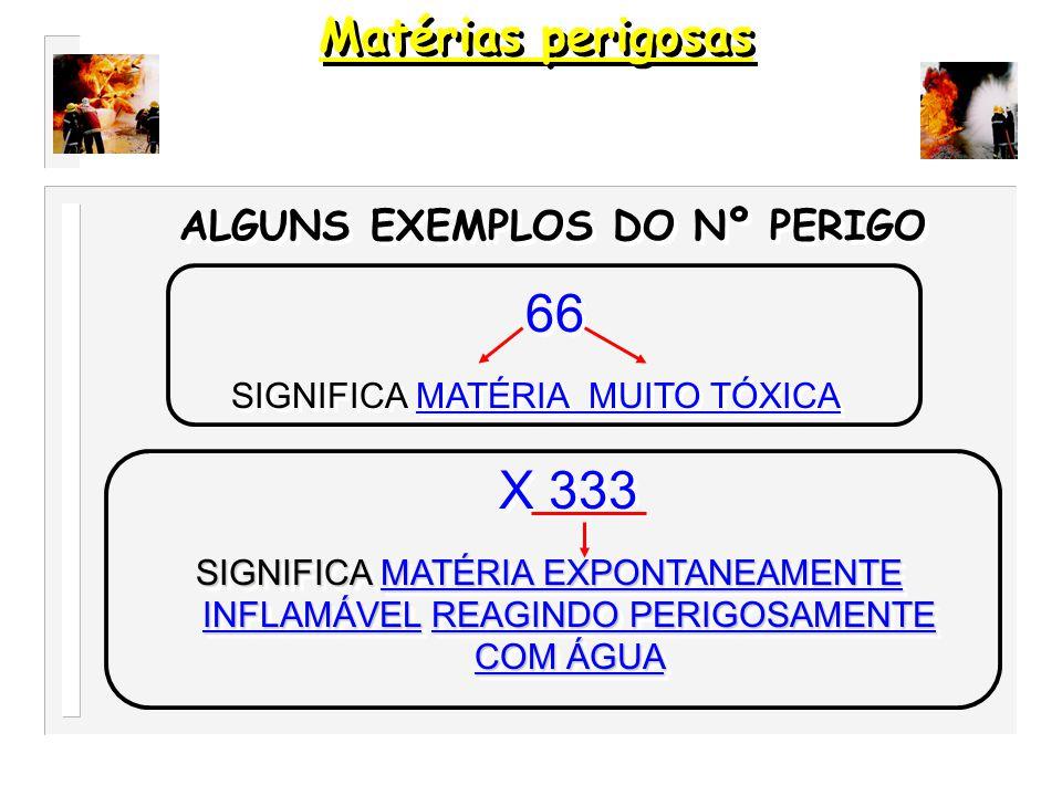 23 GÁS, INFLAMÁVEL SIGNIFICA GÁS, INFLAMÁVEL 23 GÁS, INFLAMÁVEL SIGNIFICA GÁS, INFLAMÁVEL ALGUNS EXEMPLOS DO Nº PERIGO 33 LIQUIDO, MUITO INFLAMÁVEL SIGNIFICA LIQUIDO, MUITO INFLAMÁVEL 33 LIQUIDO, MUITO INFLAMÁVEL SIGNIFICA LIQUIDO, MUITO INFLAMÁVEL 336 LIQUIDO, MUITO INFLAMÁVEL e TÓXICO SIGNIFICA LIQUIDO, MUITO INFLAMÁVEL e TÓXICO 336 LIQUIDO, MUITO INFLAMÁVEL e TÓXICO SIGNIFICA LIQUIDO, MUITO INFLAMÁVEL e TÓXICO Matérias perigosas