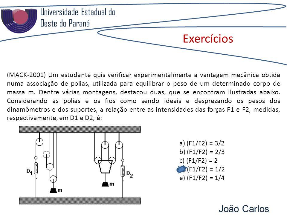 Universidade Estadual do Oeste do Paraná João Carlos Pozzobon Exercícios (MACK-2001) Um estudante quis verificar experimentalmente a vantagem mecânica obtida numa associação de polias, utilizada para equilibrar o peso de um determinado corpo de massa m.