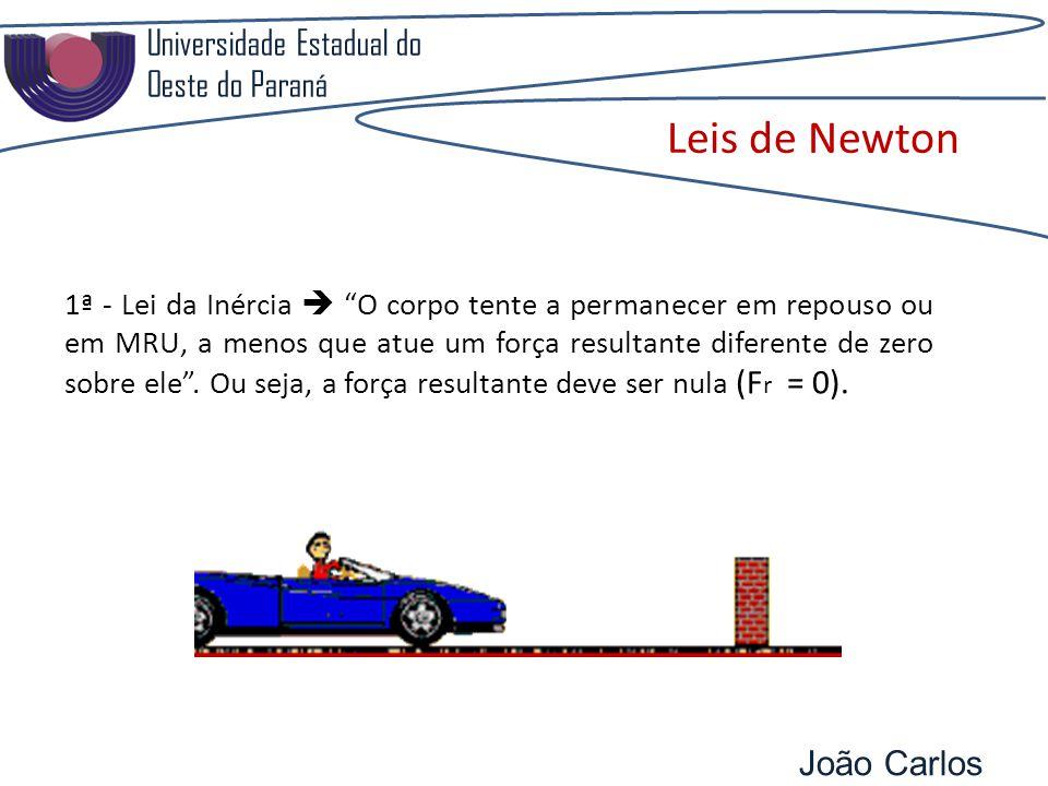 Universidade Estadual do Oeste do Paraná João Carlos Pozzobon Leis de Newton 1ª - Lei da Inércia O corpo tente a permanecer em repouso ou em MRU, a menos que atue um força resultante diferente de zero sobre ele.