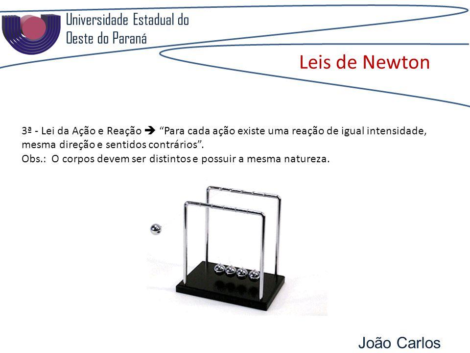 Universidade Estadual do Oeste do Paraná João Carlos Pozzobon Leis de Newton 3ª - Lei da Ação e Reação Para cada ação existe uma reação de igual intensidade, mesma direção e sentidos contrários.