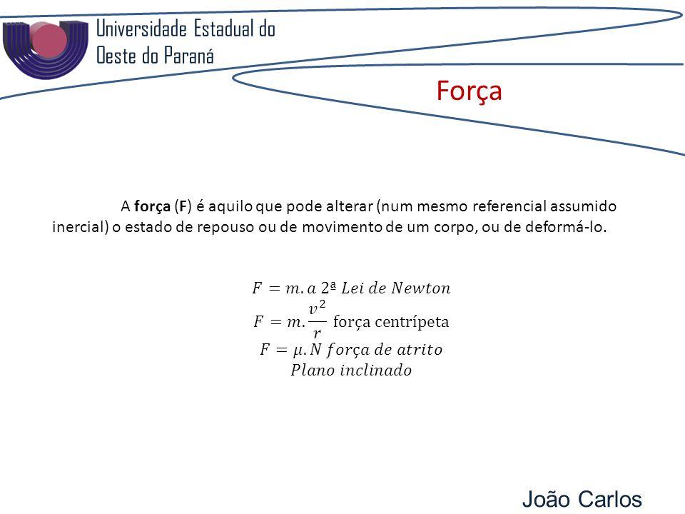 Universidade Estadual do Oeste do Paraná João Carlos Pozzobon Força A força (F) é aquilo que pode alterar (num mesmo referencial assumido inercial) o estado de repouso ou de movimento de um corpo, ou de deformá-lo.