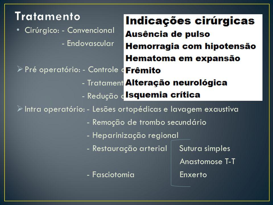 Cirúrgico: - Convencional - Endovascular Pré operatório: - Controle da hemorragia - Tratamento do choque - Redução do tempo de isquemia Intra operatór