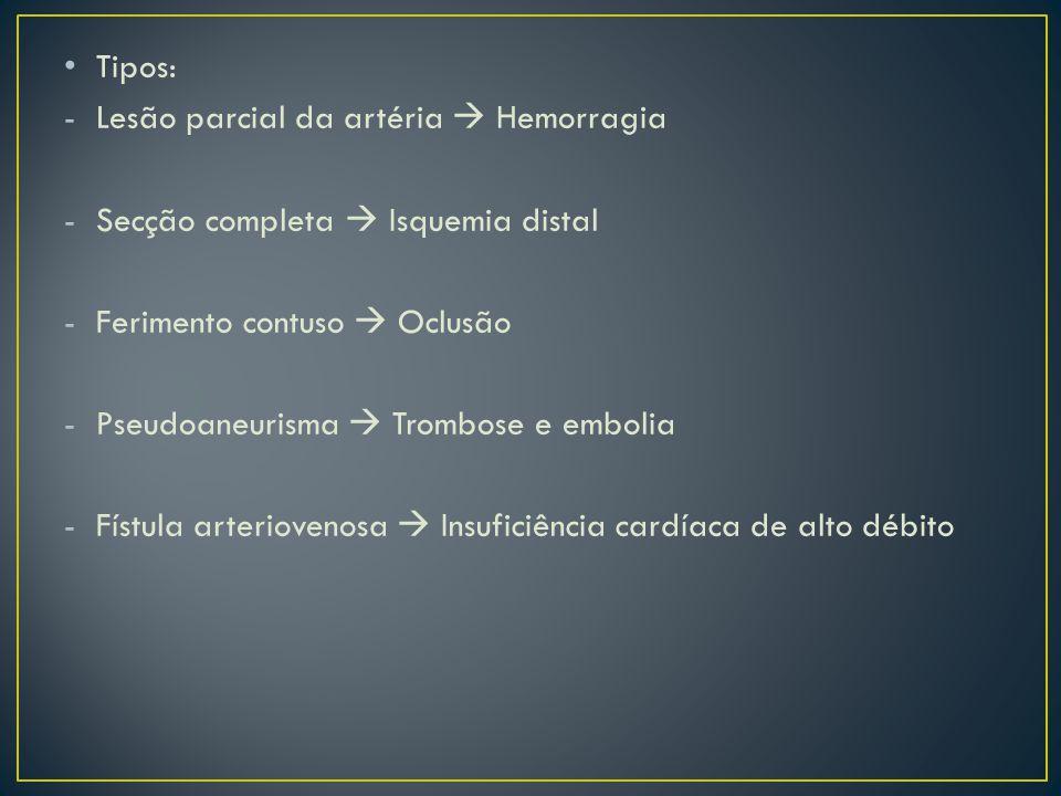Tipos: -Lesão parcial da artéria Hemorragia -Secção completa Isquemia distal -Ferimento contuso Oclusão -Pseudoaneurisma Trombose e embolia -Fístula a