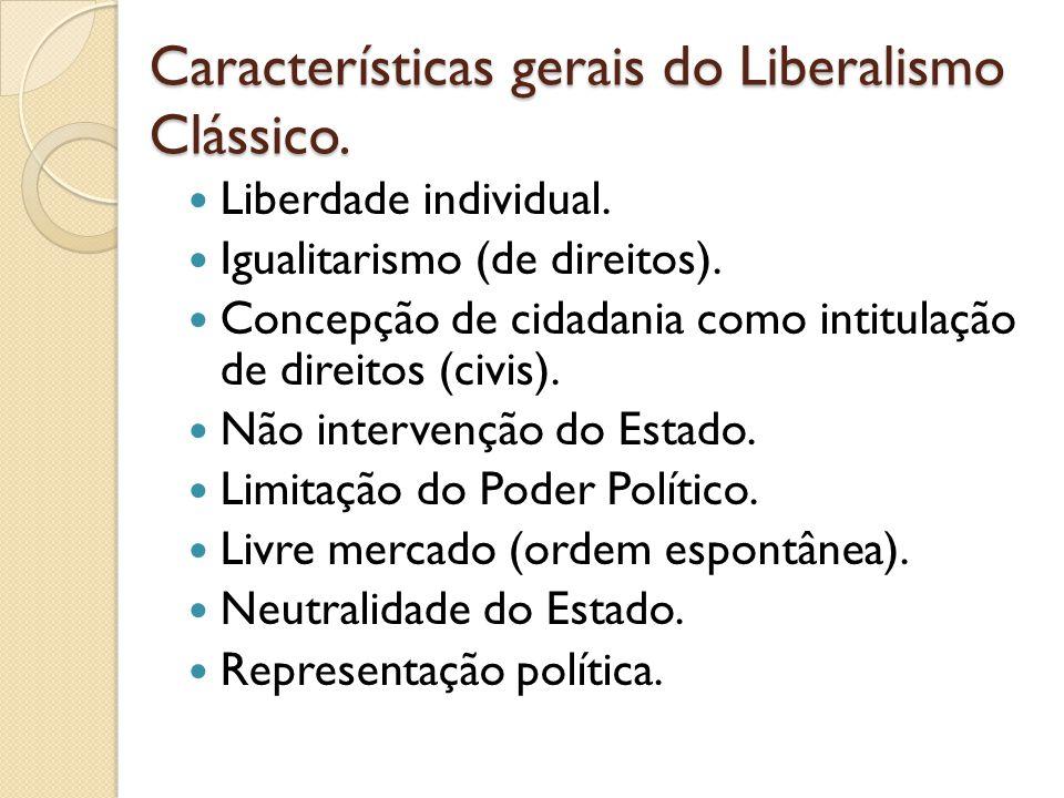Características gerais do Liberalismo Clássico.Liberdade individual.