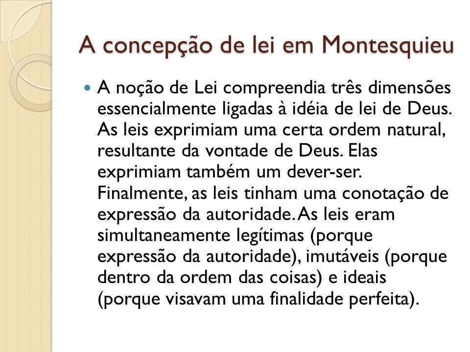 A concepção de lei em Montesquieu A noção de Lei compreendia três dimensões essencialmente ligadas à idéia de lei de Deus.