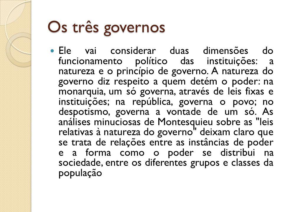 Os três governos Ele vai considerar duas dimensões do funcionamento político das instituições: a natureza e o princípio de governo.