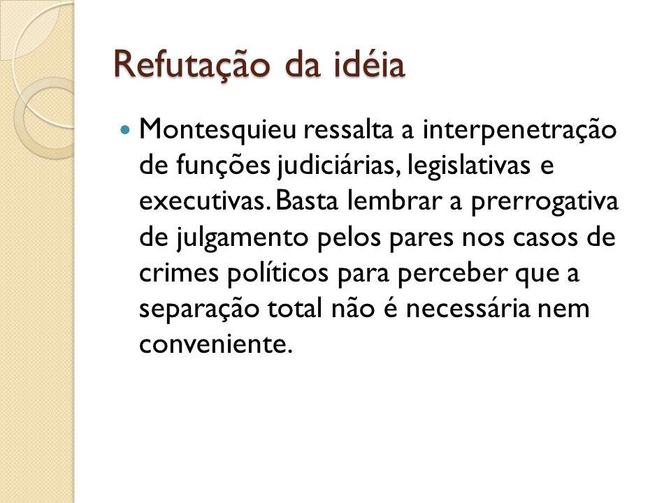 Refutação da idéia Montesquieu ressalta a interpenetração de funções judiciárias, legislativas e executivas.